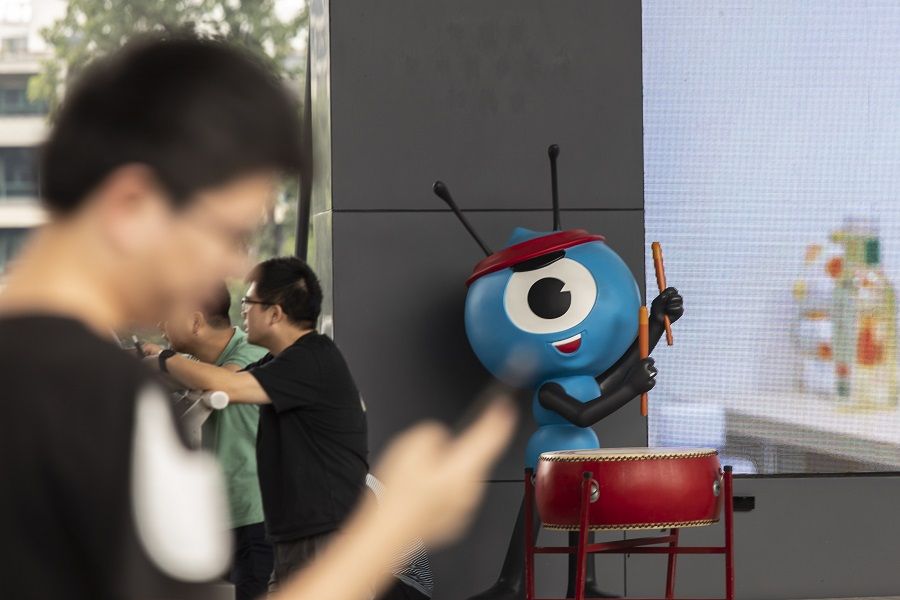The Ant Group Co. mascot at the company's headquarters in Hangzhou, China, on 2 August 2021. (Qilai Shen/Bloomberg)