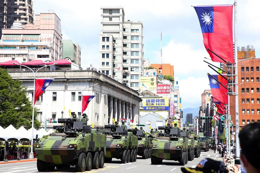 CM32, CM33 and CM34 military tanks pass in front of the Presidential Office during the Double Tenth Day celebration in Taipei, Taiwan, on 10 October 2021. (I-Hwa Cheng/Bloomberg)