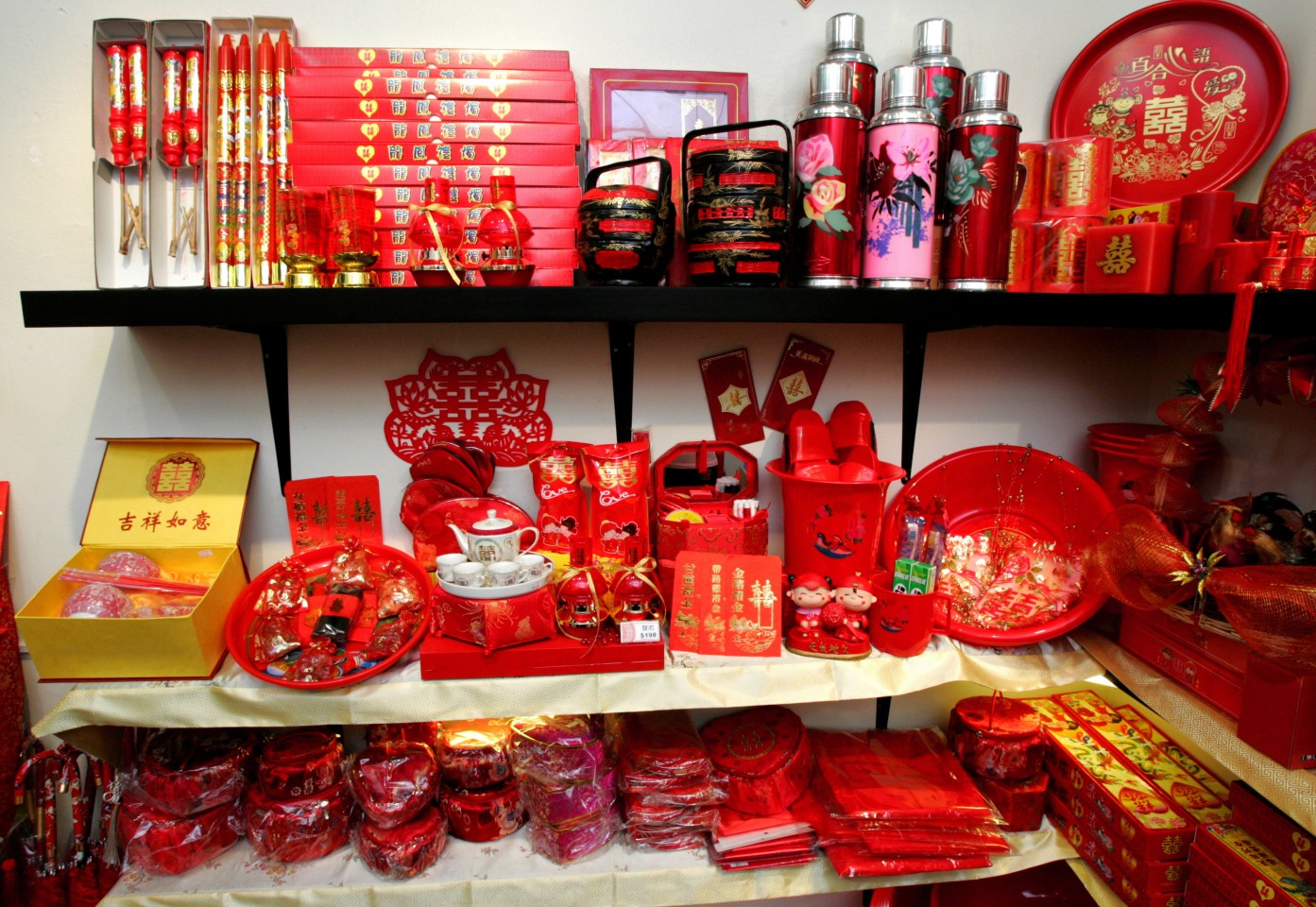 Commonly used items in a traditional Chinese wedding. (SPH)