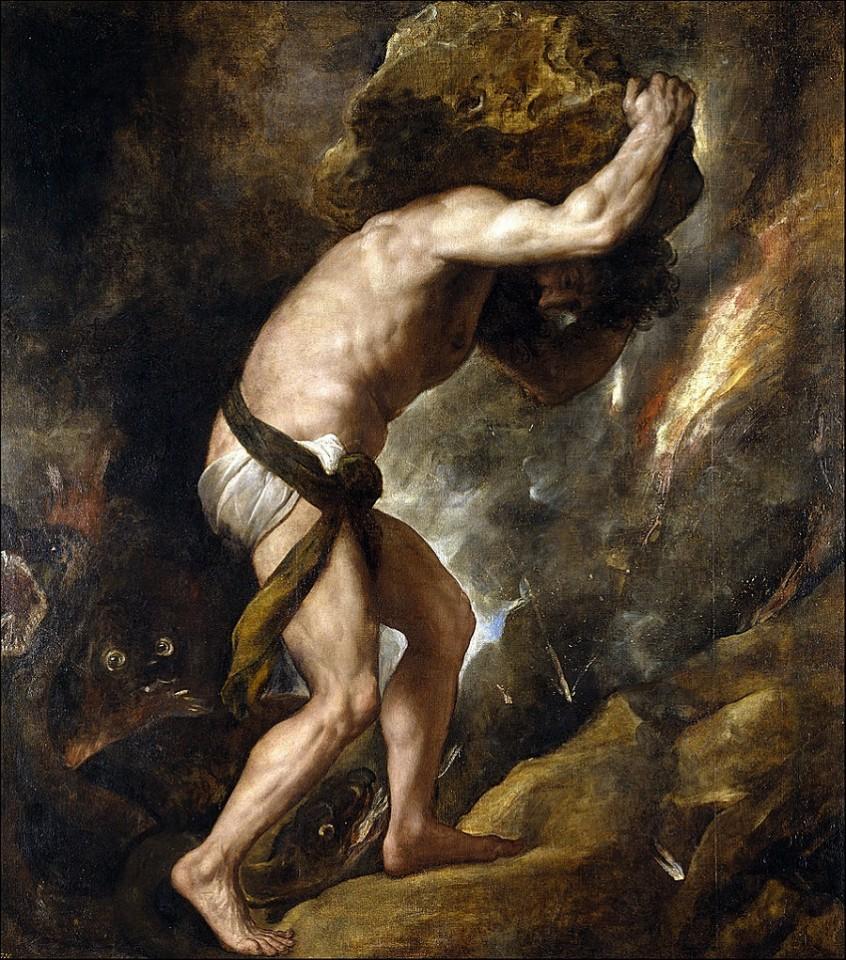 Sisyphus (1548–49) by Titian, Prado Museum, Madrid, Spain. (Wikimedia)