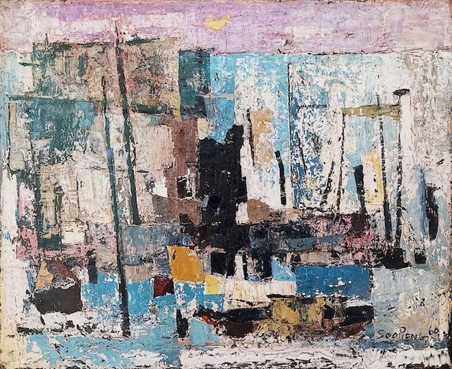 Cheong Soo Pieng, Abstract (Kelong) 1960. (Artcommune Gallery)