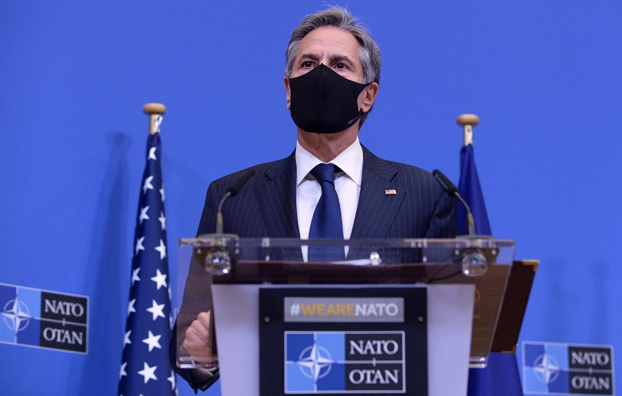 US Secretary of State Antony Blinken holds a joint news conference with the NATO secretary general and US secretary of Defense on 14 April 2021 at the NATO headquarters in Brussels, following a meeting after the US announced the withdrawal of all its troops from the Afghanistan by 11 September. (Johanna Geron/Pool/AFP)