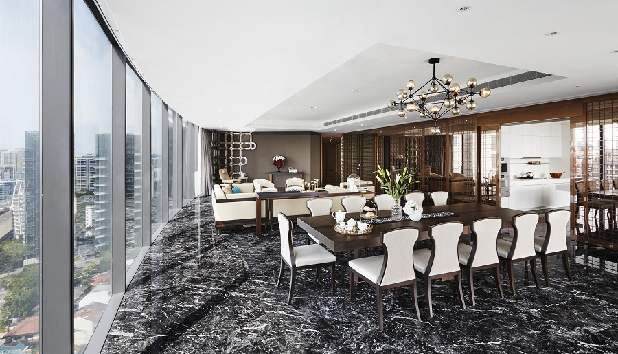 The dining and living area in a show unit of an apartment at the completed Boulevard Vue condominium in Singapore. (Boulevard Vue)