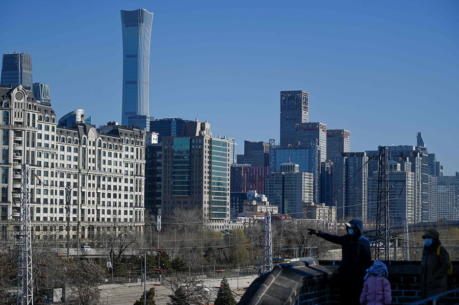 This picture shows Beijing's skyline on 16 December 2020. (Wang Zhao/AFP)