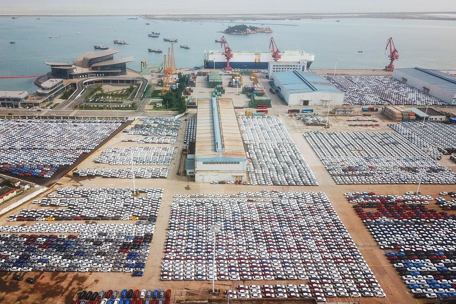 This aerial photo taken on 7 September 2021 shows a view of cars at Lianyungang Port in Lianyungang, Jiangsu province, China. (STR/AFP)