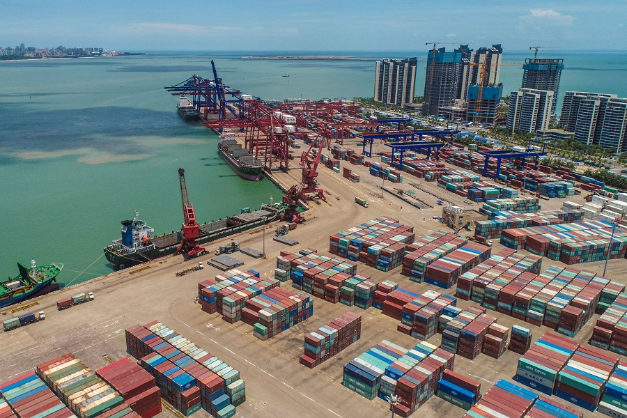 This aerial photo taken on 17 May 2021 shows a port in Haikou, Hainan province, China. (STR/AFP)