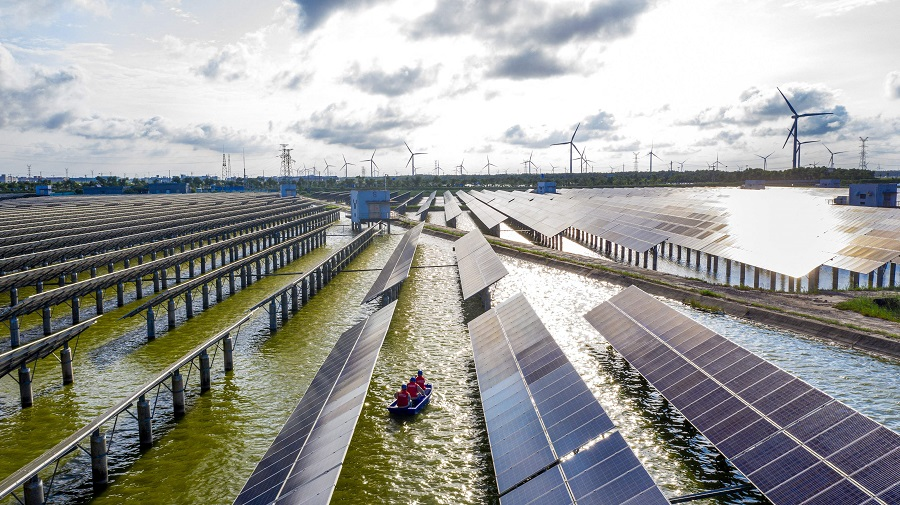 This photo taken on 19 July 2021 shows electrical workers (centre) in a boat as they check solar panels at a photovoltaic power station built in a fishpond in Hai'an, Jiangsu province, China. (STR/AFP)