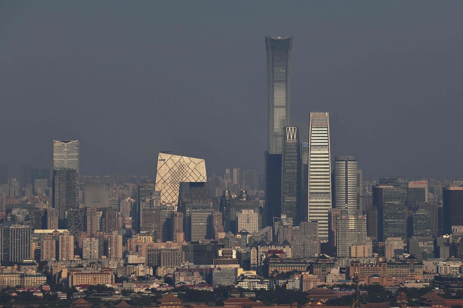 Buildings including China Zun, Beijing's tallest building, are seen in the city's central business district on 17 September 2021. (Greg Baker/AFP)