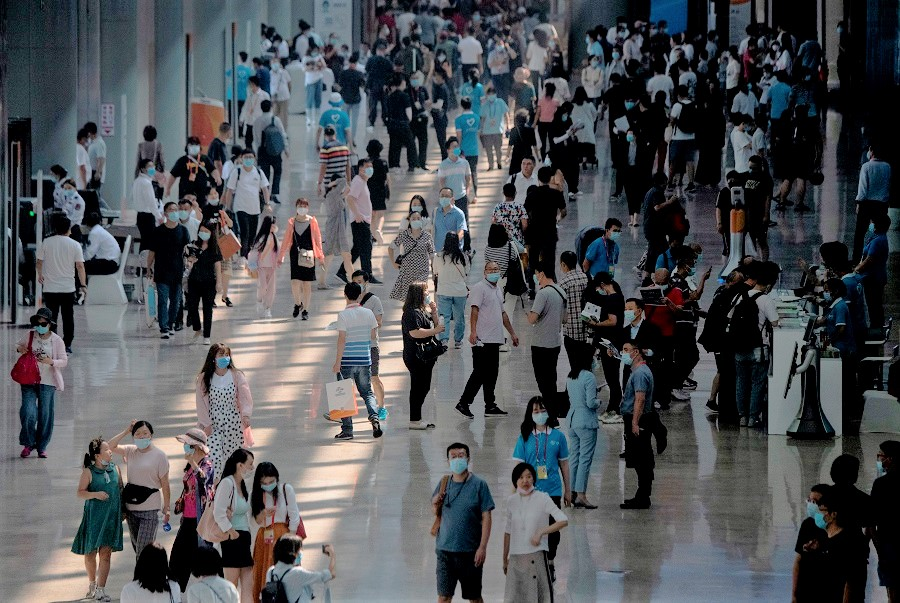 People arrive at the China International Fair for Trade in Services (CIFTIS) in Beijing on 6 September 2020. (Noel Celis/AFP)