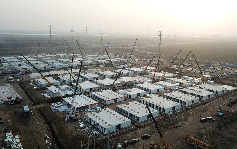 This aerial photo taken on 16 January 2021 shows the under-construction centralised quarantine facilities, where people at risk of contracting the Covid-19 coronavirus are to be taken into quarantine in Shijiazhuang, Hebei province, China. (STR/CNS/AFP)