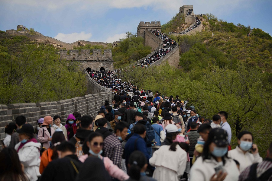 People visit the Great Wall of China during the labour day holiday in Beijing, China, on 1 May 2021. (Noel Celis/AFP)