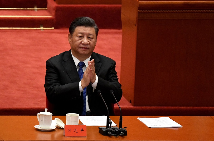 Chinese President Xi Jinping attends the commemoration of the 110th anniversary of the Xinhai Revolution which overthrew the Qing Dynasty and led to the founding of the Republic of China, at the Great Hall of the People in Beijing, China, on 9 October 2021. (Noel Celis/AFP)
