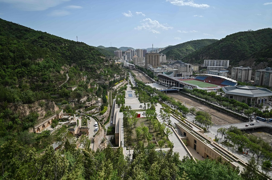 A general view taken during a government-organised media tour shows Yan'an city, the headquarters of the Chinese Communist Party from 1936 to 1947, in Shaanxi province on 9 May 2021. (Hector Retamal/AFP)