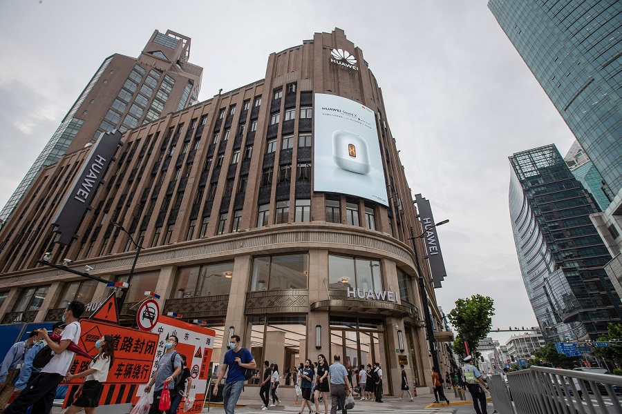 This photo taken on 23 June 2020 shows a Huawei global flagship store ahead of its opening in Shanghai. (STR/AFP)