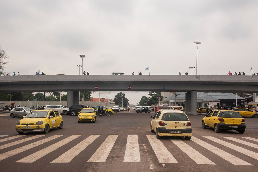A general view of the flyover in Gombe, Kinshasa, Democratic Republic of the Congo, on 31 December  2020. (Arsene Mpiana/AFP)