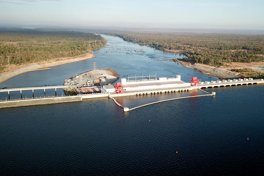 This file photo taken on 17 December 2018 shows a general view of Cambodia's 400 megawatt Chinese-financed Lower Sesan 2 hydroelectric dam during its inauguration in Stung Treng province, Cambodia. (Ly Lay/AFP)