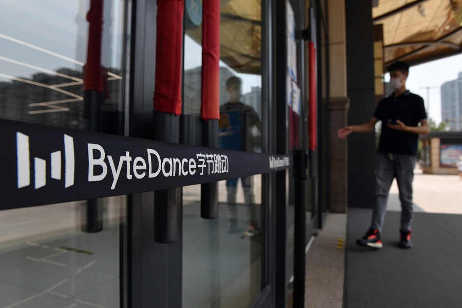 This file photo taken on 8 July 2020 shows the ByteDance logo at the entrance to ByteDance's office in Beijing. (Greg Baker/AFP)