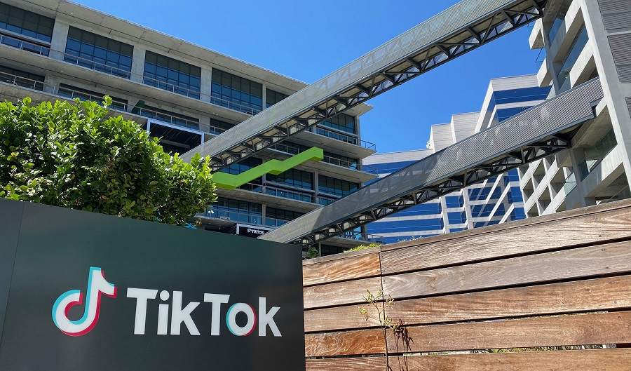 In this file photo taken on 11 August 2020, the TikTok logo is seen on the side of the company's new office space at the C3 campus in Culver City, Los Angeles. (Chris Delmas/AFP)