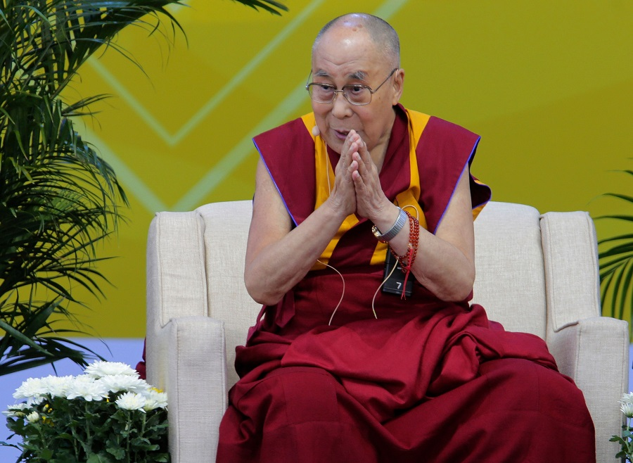 In this file photo taken on 16 June 2017, the Dalai Lama speaks during a press conference at the University of California-San Diego, in San Diego, California. (Bill Wechter/AFP)