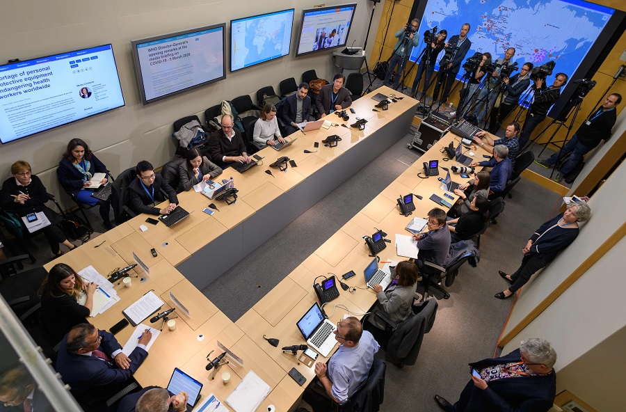In this file photo taken on 6 March 2020, a general view of the daily press briefing by the WHO on the Covid-19 virus is seen at the WHO headquaters in Geneva. (Fabrice Coffrini/AFP)