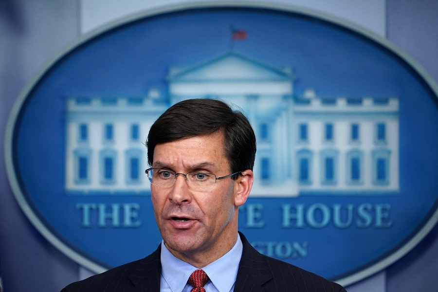 In this file photo taken on 1 April 2020, Defence Secretary Mark Esper speaks during the daily briefing on Covid-19, in the Brady Briefing Room at the White House in Washington, D.C. (Mandel Ngan/AFP)