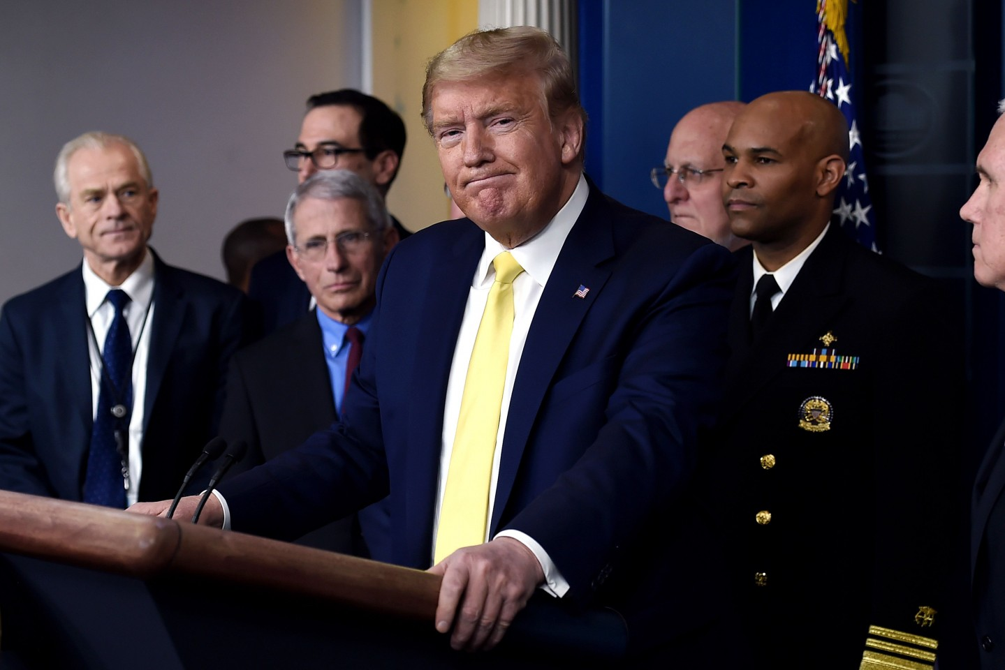 In this file photo, US President Donald Trump speaks about the Covid-19 pandemic alongside members of the Coronavirus Task Force in the Brady Press Briefing Room at the White House in Washington, D.C., on 9 March 2020. (Olivier Douliery/AFP)