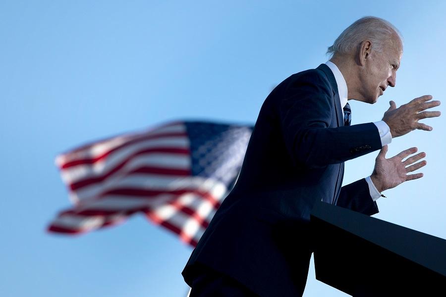 In this file photo, former US Vice President Joe Biden, Democratic presidential candidate, speaks at the Lodges at Gettysburg, 6 October 2020, in Gettysburg, Pennsylvania. (Brendan Smialowski/AFP)
