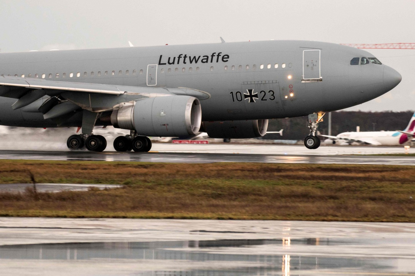 "German Air Force Airbus A310 ""Kurt Schumacher"" lands at Frankfurt am Main airport, western Germany, with on board German citizens who have been evacuated from the Chinese city of Wuhan, epicentre of the coronavirus outbreak on 1 February 2020. (Thomas Lohnes/AFP)"