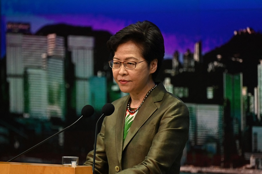 Hong Kong Chief Executive Carrie Lam speaks at her weekly press conference at the government headquarters in Hong Kong on 6 July 2021. (Peter Parks/AFP)