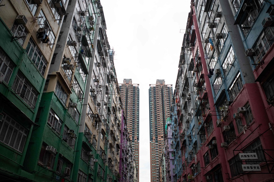 A general view shows residential buildings in Hong Kong on 15 August 2021. (Bertha Wang/AFP)