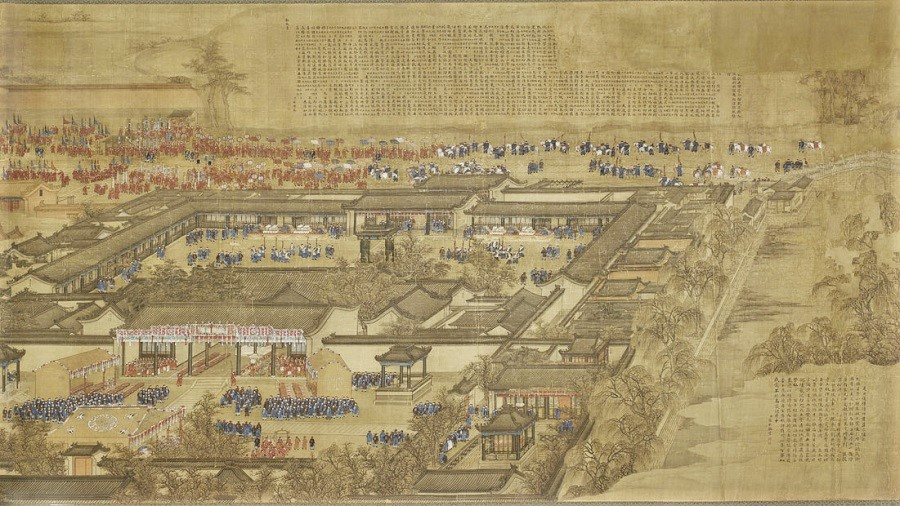 Jin Kun, Sun Hu, Lu Zhan, Wu Yu, and Zhang Qi, Hanlin Academy, partial, Musée Cernuschi, Paris, France. (Internet)