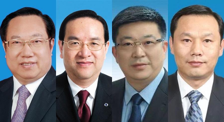"""The """"Hubei F4"""" (left to right): Wang Xiaodong, Governor of Hubei Province (湖北省省长), Jiang Chaoliang, Secretary of the Hubei Provincial Party Committee (湖北省省委书记), Zhou Xianwang, Mayor of Wuhan (武汉市市长), Ma Guoqiang, Secretary of the Wuhan Party Committee (武汉市市委书记). (Internet)"""