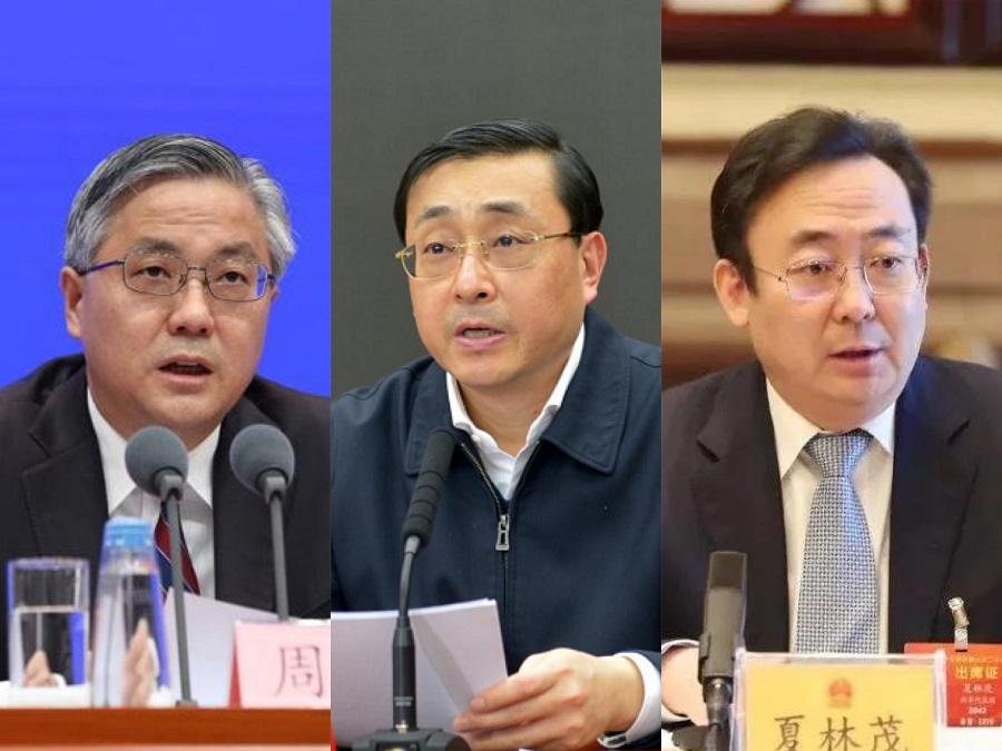 Provincial standing committee members who were just appointed this year: (left to right) Zhou Hongbo, Fei Gaoyun, and Xia Linmao. (Internet)