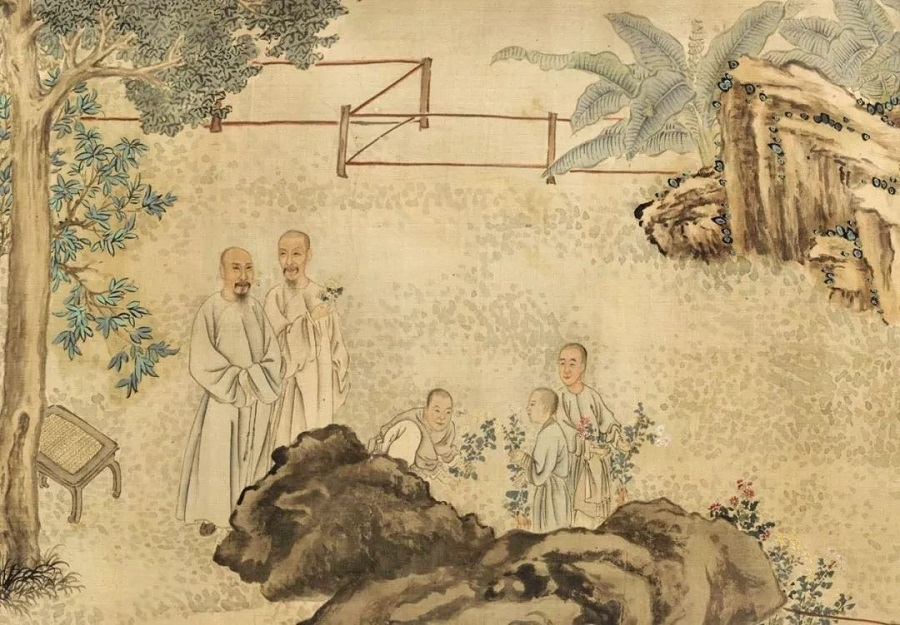 Ye Fanglin, The Ninth Day Literary Gathering at Xing'an (《九日行庵文宴图》), partial, Cleveland Museum of Art. (WeChat/玉茗堂前)