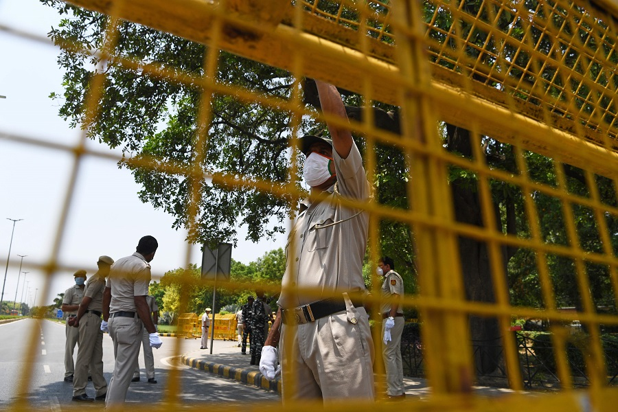 Police set up barricades outside the Chinese embassy in New Delhi on 17 June 2020. (Sajjad Hussain/AFP)