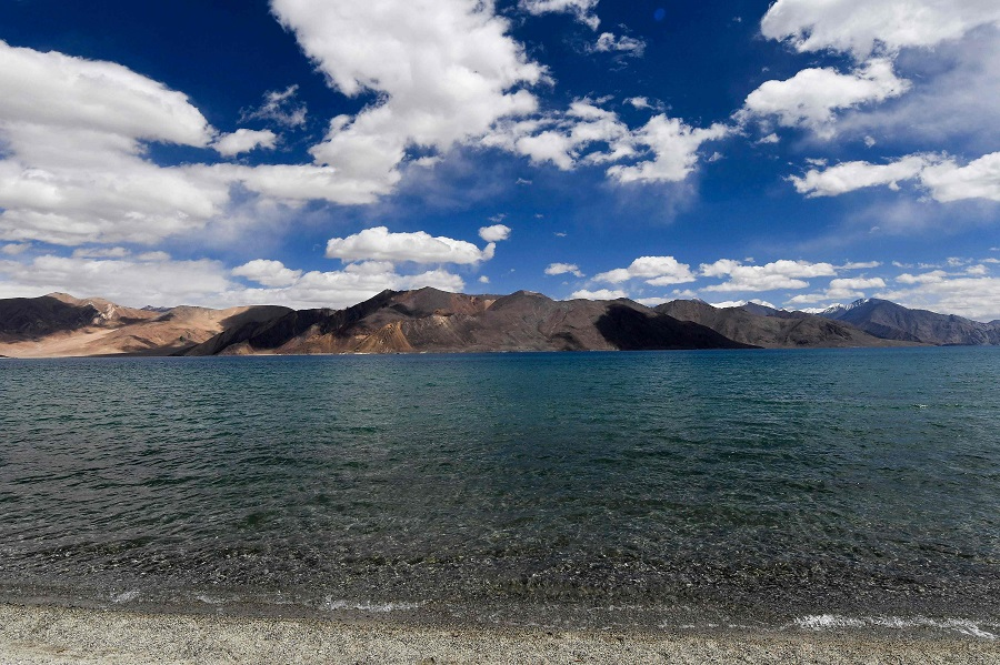 This photo taken on 14 September 2018 shows a general view of the Pangong Tso (lake) in Ladakh bordering India and China. (Prakash Singh/AFP)