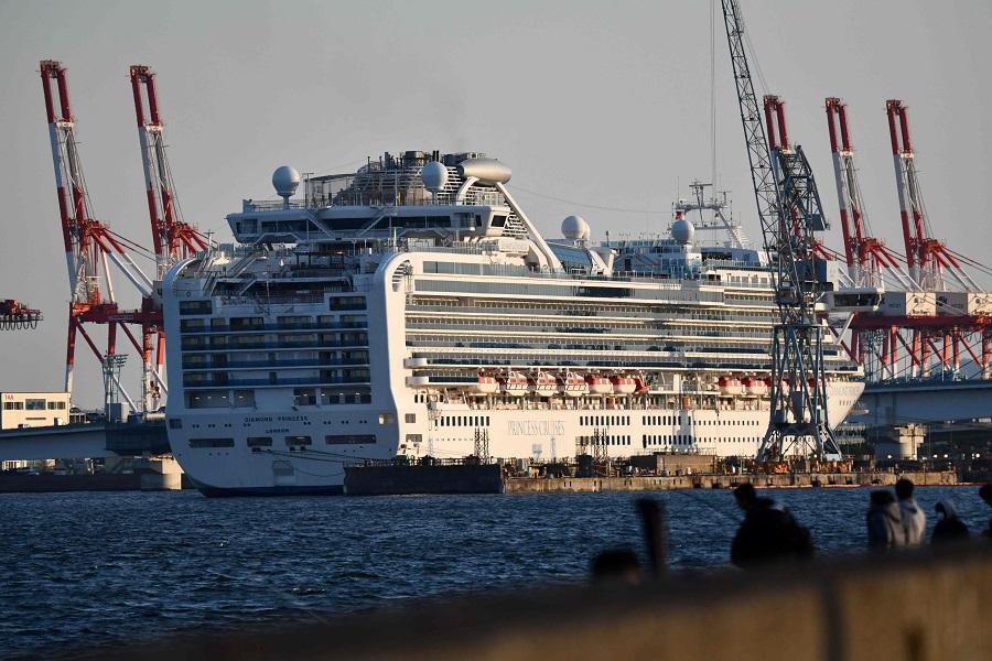 The Diamond Princess cruise ship is seen at a pier in the port of Yokohama on 25 March 2020. (Kazuhiro Nogi/AFP)