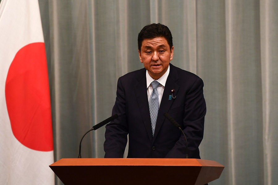 Newly appointed Japan Defence Minister Nobuo Kishi delivers a speech during a press conference at the Prime Minister's office in Tokyo on 16 September 2020. (Charly Triballeau/AFP)