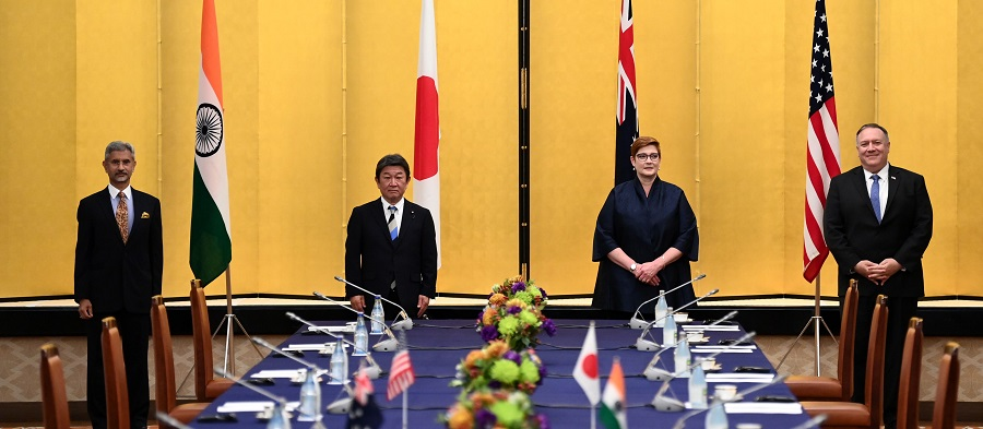 (left to right) India's Foreign Minister Subrahmanyam Jaishankar, Japan's Foreign Minister Toshimitsu Motegi, Australian Foreign Minister Marise Payne and US Secretary of State Mike Pompeo pose for a picture as they attend a meeting in Tokyo, Japan, 6 October 2020. (Charly Triballeau/Pool/AFP)