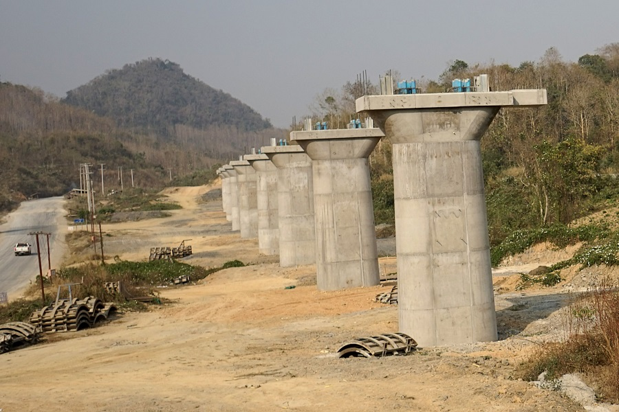 This picture taken on 8 February 2020 shows a part of the first rail line linking China to Laos, a key part of Beijing's 'Belt and Road' project across the Mekong, in Luang Prabang. (Aidan Jones/AFP)