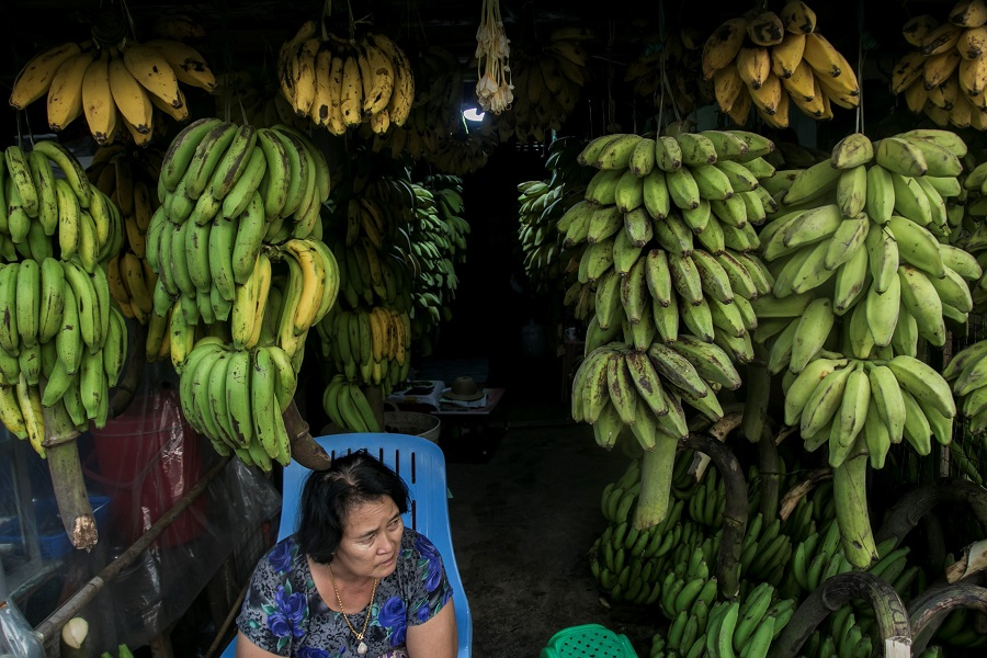 This photo taken on 11 December 2020 shows a vendor waiting for customers at a wholesale coconut and banana market in Yangon, Myanmar. (Sai Aung Main/AFP)