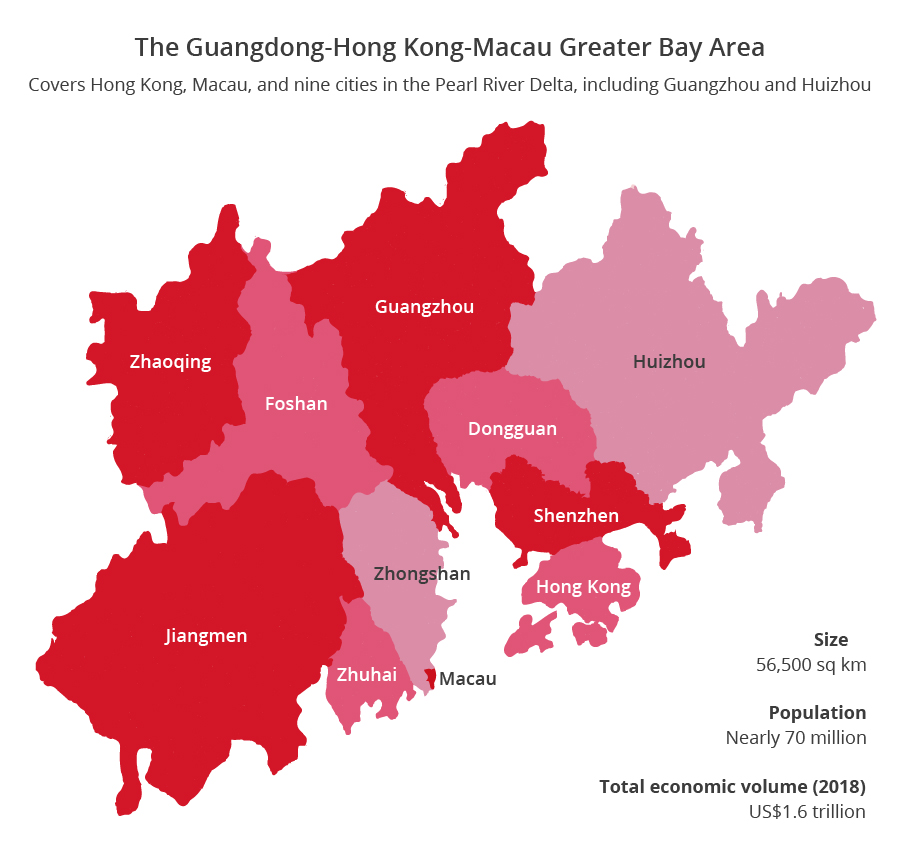 Map of the Greater Bay Area. (Graphic: Jace Yip)