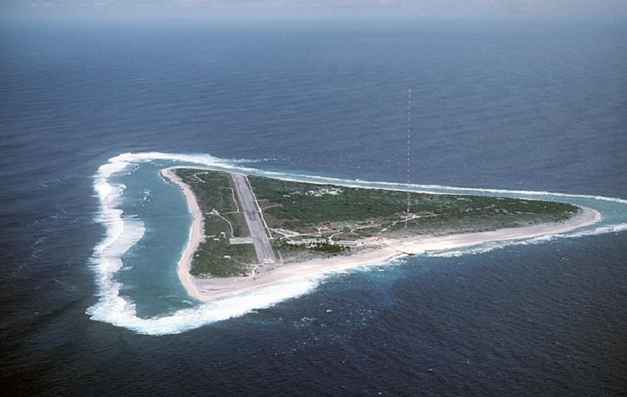 An aerial shot of Minamitori Island. (Internet)