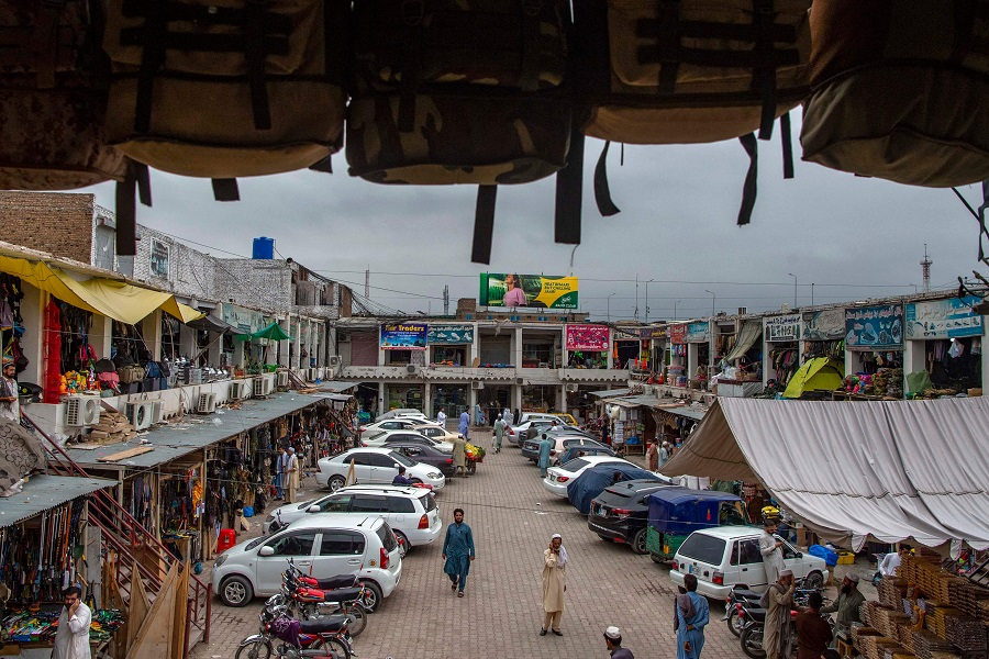 In this picture taken on 14 July 2021, a general view of Sitara market is pictured in the Karkhano area on the outskirts of Peshawar, Khyber Pakhtunkhwa province, Pakistan. (Abdul Majeed/AFP)