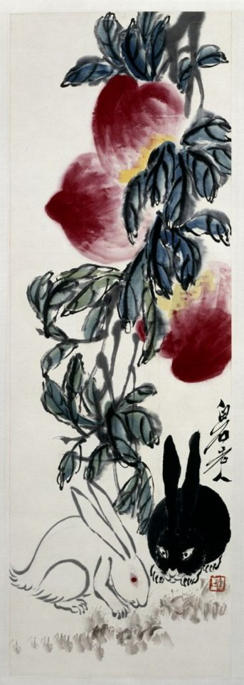 Qi Baishi, Peaches and Rabbits (《桃兔图》), The Palace Museum. (Internet)