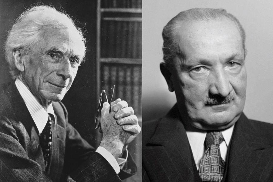 Bertrand Russell (left) and Martin Heidegger. (Internet)