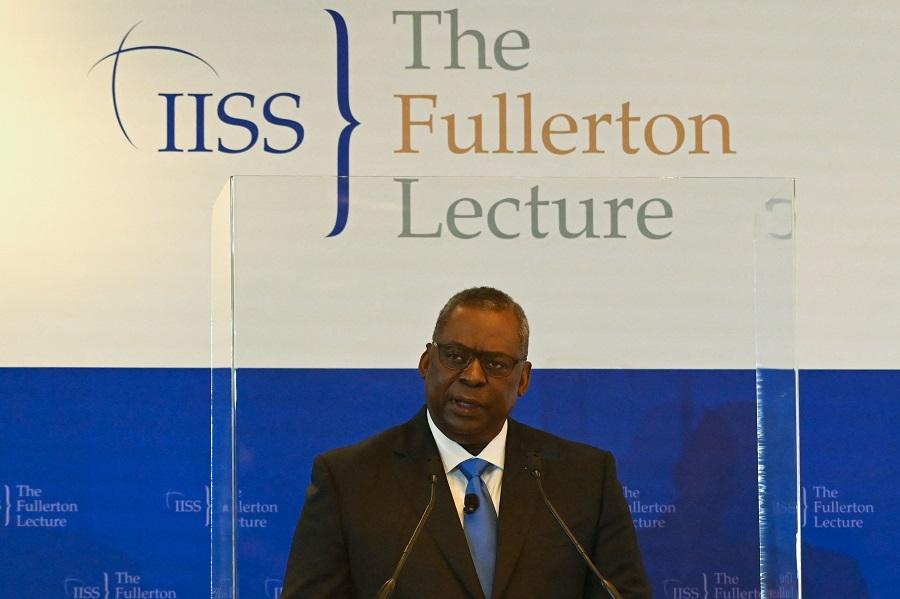 US Secretary of Defense Lloyd Austin speaks during the 40th International Institute for Strategic Studies (IISS) Fullerton Lecture in Singapore on 27 July 2021. (Roslan Rahman/AFP)