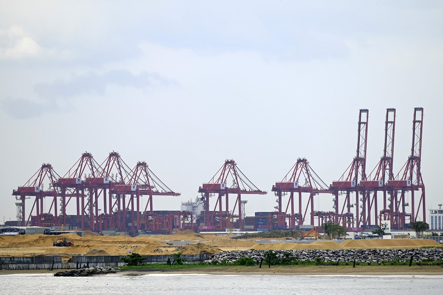 A general view of the Chinese-managed terminal of the Colombo port is seen from the Galle Face promenade in Colombo, Sri Lanka, on 2 February 2021. (Ishara S. Kodikara/AFP)