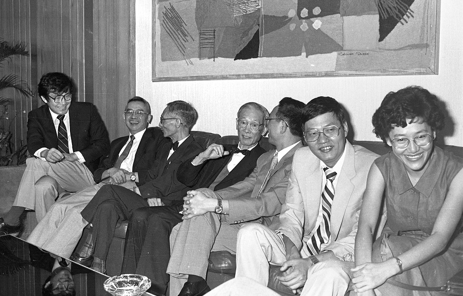 The Confucian scholars (from left): Professors Tu Wei-ming, Yu Ying-shih, Lao Yung-wei , Chan Wing-tsit, Liu Shu-hsien, Dr Shih Yuan-kang and Associate Professor Choy Mei Lai. They were at a press conference on 30 July 1985, chaired by Prof Liu, where they reviewed the topics to be covered during the Conference on Confucian Ethics. (SPH)