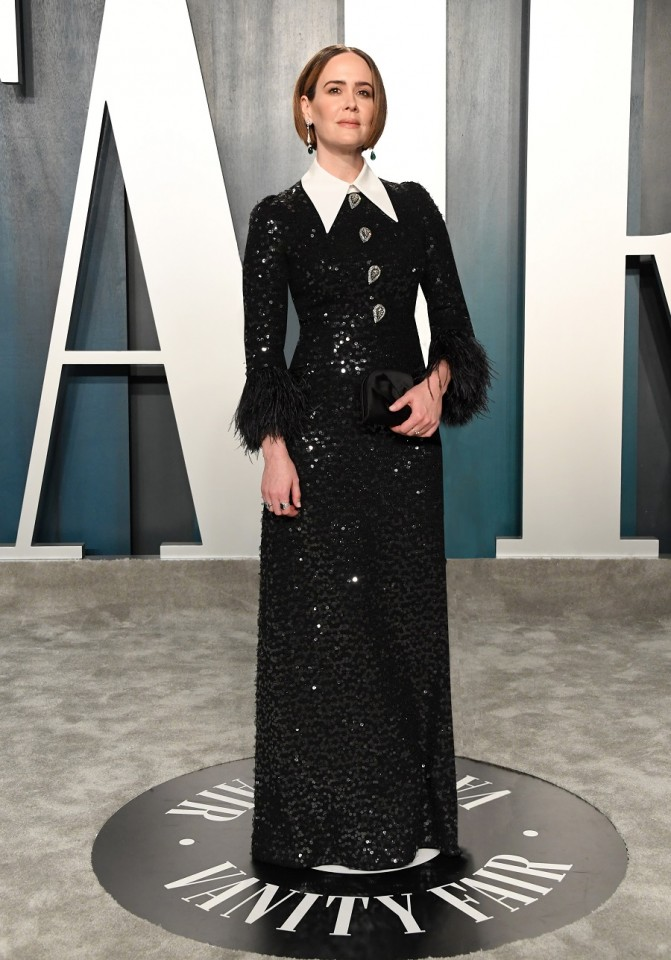 Sarah Paulson wearing Andrew Gn VF Oscar party 09FEB20